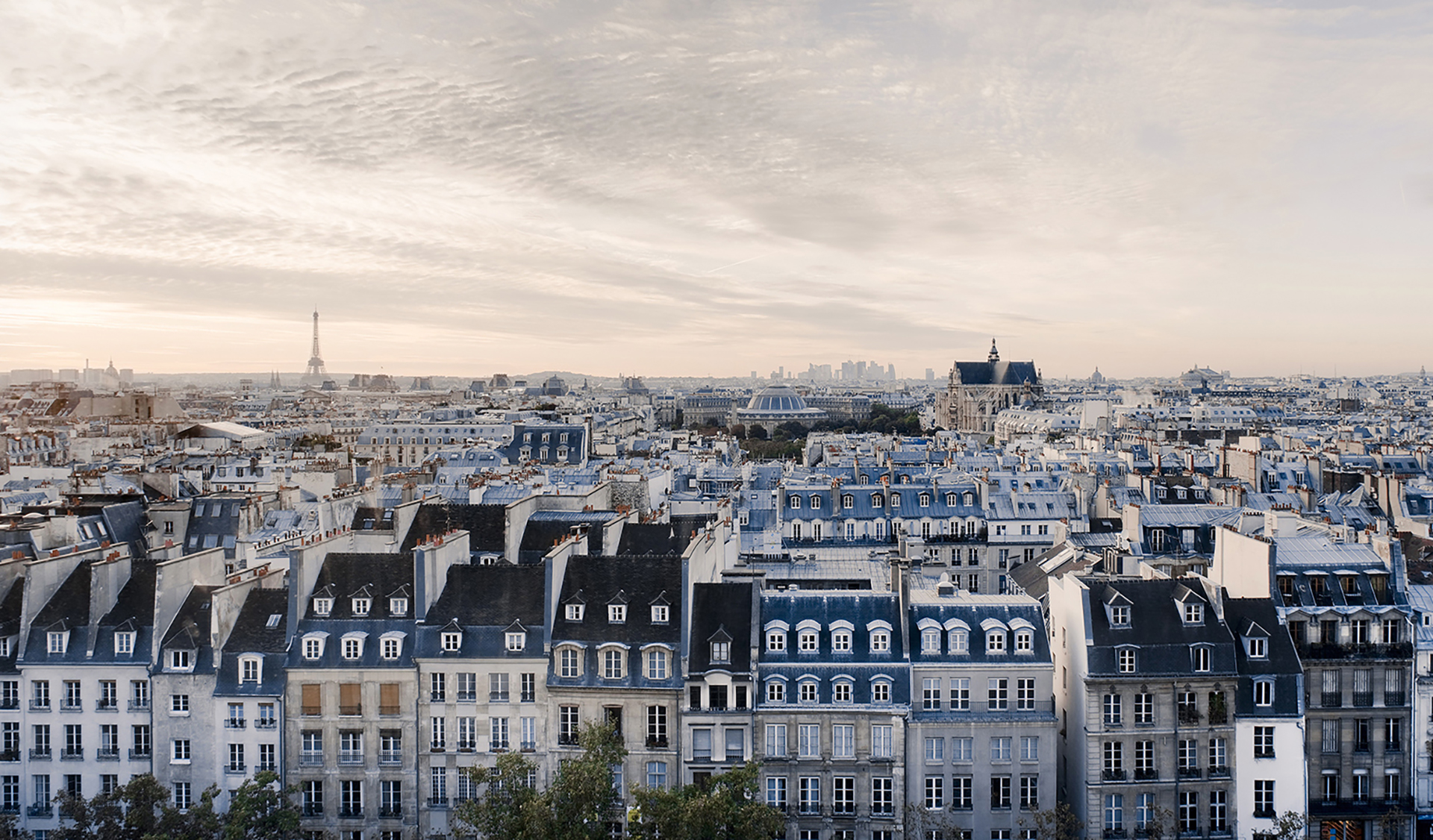 High angle view of residential buildings in Paris, France